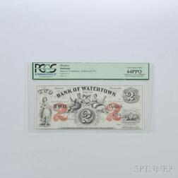 1863 Bank of Watertown, Wisconsin $2 Banknote, PCGS 64PPQ