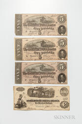Four Pieces of Confederate Currency