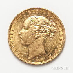 1879-S British Gold Sovereign.     Estimate $400-600