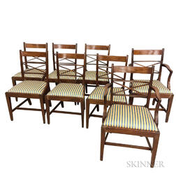 Set of Eight Neoclassical-style Inlaid Mahogany Dining Chairs