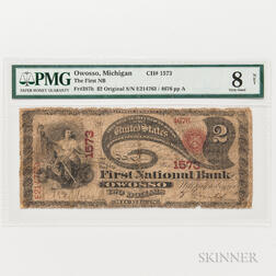 "1865 Original First National Bank of Owosso, Michigan $2 ""Lazy Deuce,"" Ch. 1573, PMG Very Good 8 NET"