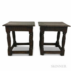 Two Carved Oak Joint Stools