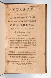 Extracts from the Votes and Proceedings of the American Continental Congress Held at Philadelphia on the 5th of September 1774.