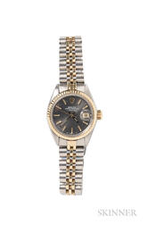 Lady's Gold and Stainless Steel Oyster Perpetual Date Wristwatch, Rolex