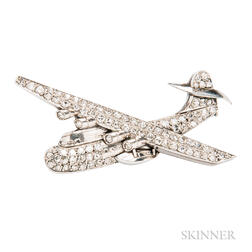 Unusual Platinum and Diamond Brooch Depicting a Short Sunderland Aircraft