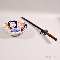 Japanese Sword and Scabbard and an Imari Porcelain Bowl.     Estimate $200-250