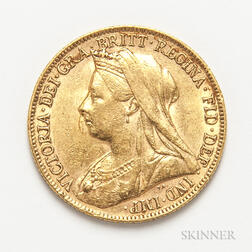 1899-P British Gold Sovereign.     Estimate $300-500