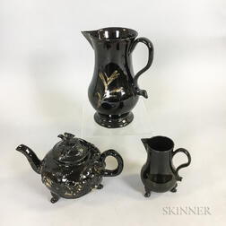 Three Staffordshire Jackfield Black-glazed Items