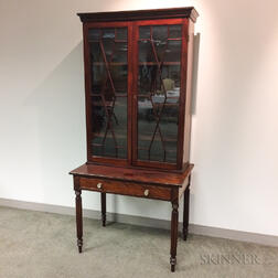 Late Federal Glazed Mahogany Desk/Bookcase