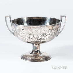 Silver Imperial Japanese Navy and American Fleet Trophy Punch Bowl