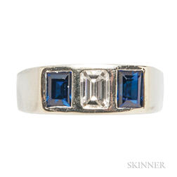 14kt White Gold, Synthetic Sapphire, and Diamond Ring