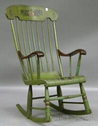 Martha and Ralph Cahoon Painted and Stencil-decorated Boston Rocker