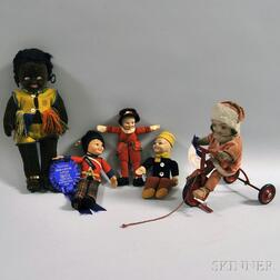 Five Assorted Norah Wellings, Alpha Toys, and Chad Valley Cloth Dolls