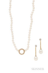 Two Cultured Pearl and Diamond Jewelry Items