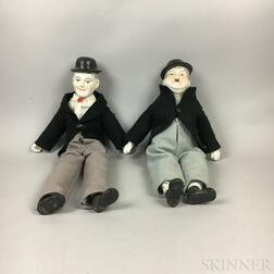 Laurel and Hardy Bisque Shoulder Head Dolls
