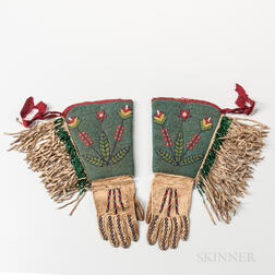 Pair of Plateau Beaded Hide Gauntlets