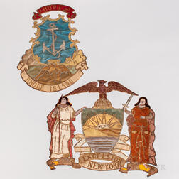 Two Silkwork, Embroidered, and Sequin-embellished State Seal Banners for New York and Rhode Island