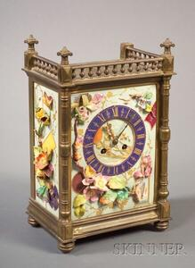 Aesthetic Movement French Faience Mantel Timepiece