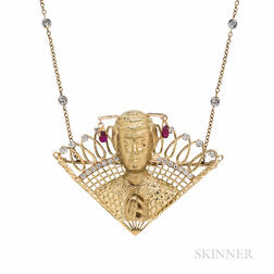 Henryk Kaston 18kt Gold, Ruby, and Diamond Brooch of Dorothy Kirsten as Madama Butterfly