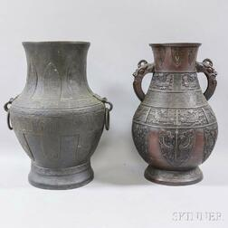 Two Archaistic Bronze Hu   Vessels