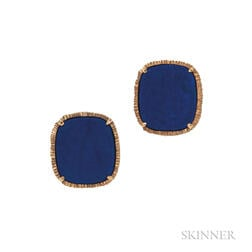 18kt Gold and Lapis Cuff Links, Van Cleef & Arpels