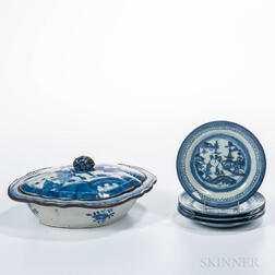 Canton Export Porcelain Covered Serving Dish and Four Small Plates