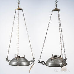 Two Pewter Lawrence Patent Hanging Lamps