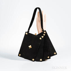 Black Suede Card Handbag Attributed to Anne-Marie