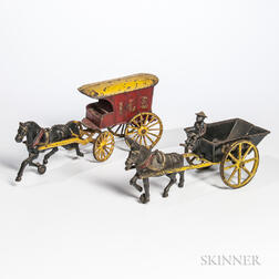 "Cast Iron ""Coal"" Cart and ""Ice"" Wagon Pull Toys"