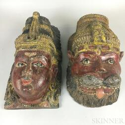 Pair of Indian Polychrome Wood Masks