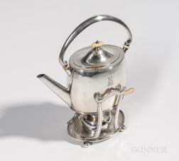 Arthur Stone Sterling Silver Kettle on Stand by Arthur Hartwell