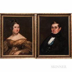 American School, Early 19th Century      Pair of Portraits of Philo Strong Shelton and His Wife