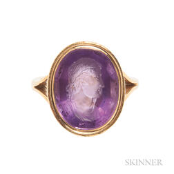 Antique 18kt Gold and Amethyst Intaglio Ring