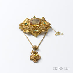 14kt Gold Filigree, Citrine, and Emerald Brooch