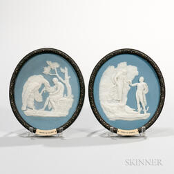Pair of Wedgwood Bert Bentley Oval Solid Blue Jasper Plaques