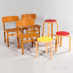Three Alvar Aalto Birch Plywood L-leg Side Chairs, a Tall Stool, and Two Short Stools