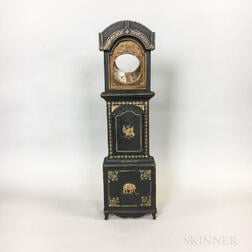 Aesthetic Movement Painted and Gilt Clock-form Watch Hutch