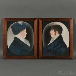 American School, 19th Century      Pair of Profile Portraits.