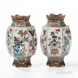 Pair of Famille Verte Small Lanterns