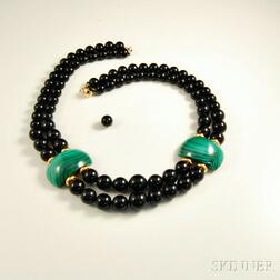 Jet Bead and Malachite Necklace