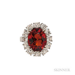 Platinum, Garnet, and Diamond Ring