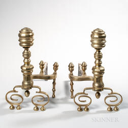 Pair of Brass and Iron Ring-turned Andirons