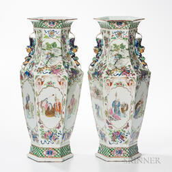 Pair of Polychrome Enameled Vases