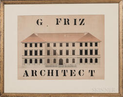 "Pencil, Pen and Ink, and Watercolor ""G. FRIZ/ARCHITECT"" Rendering of a Building"