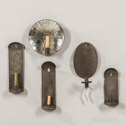 Four Tin Candle Sconces and a Mirror Sconce