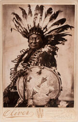 Cabinet Card Photo of a Native American Holding a War Shield