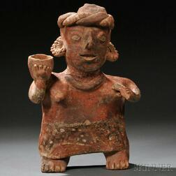 Nayarit Female Figure with Bowl and Fan (?)