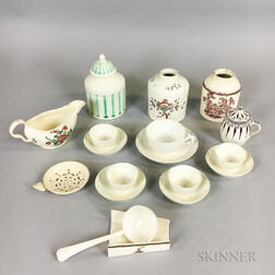Eighteen Early English Creamware Items