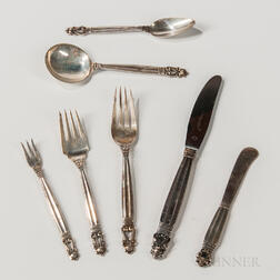 "Eighty-four-piece Georg Jensen ""Acorn"" Pattern Sterling Silver Flatware Service"