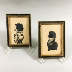 Pair of Framed Hollow-cut Silhouettes of a Husband and Wife
